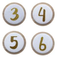 Cijferbuttons 3-6, Goud