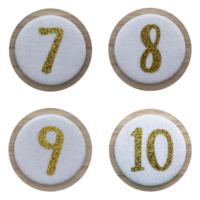 Cijferbuttons 7-10, Goud