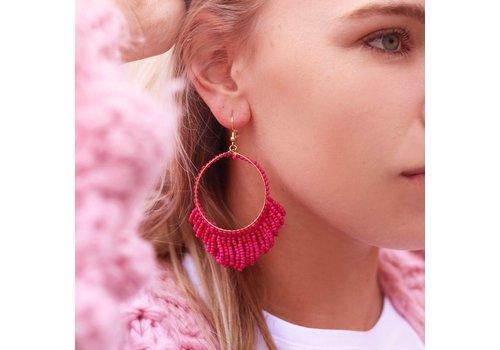 BEADS HOOPS EARRINGS - RED & PINK