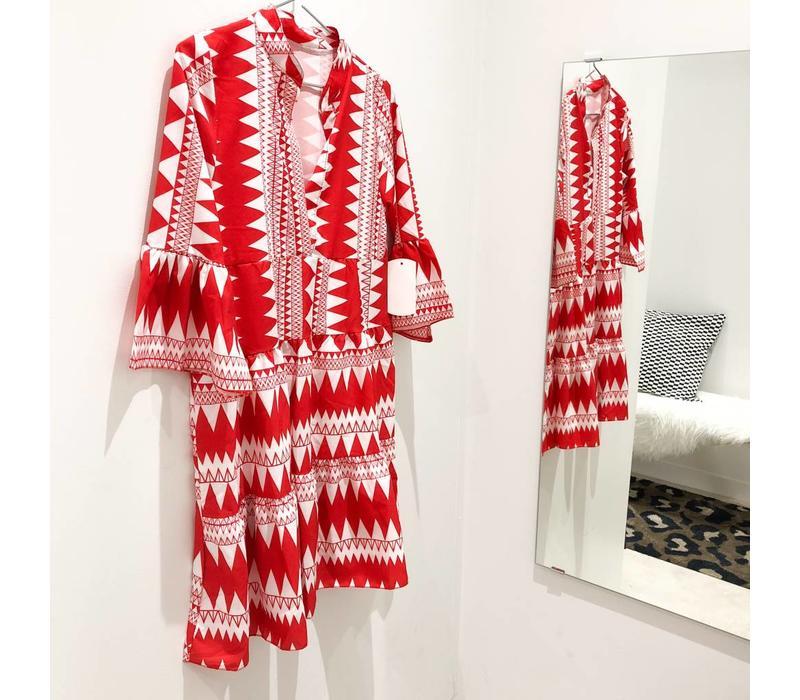 RED AZTEC DRESS