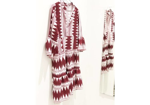 BURGUNDY AZTEC DRESS