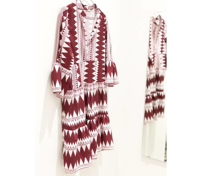 BURGUNDY AZTEC DRESS