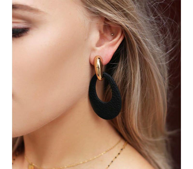 LEATHER OVAL EARINGS
