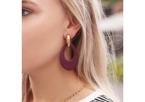 LEATHER OVAL EARRING _ BURGUNDY