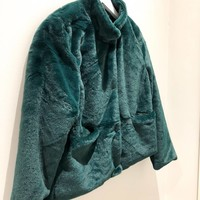 DARK GREEN FAKE FUR JACKET