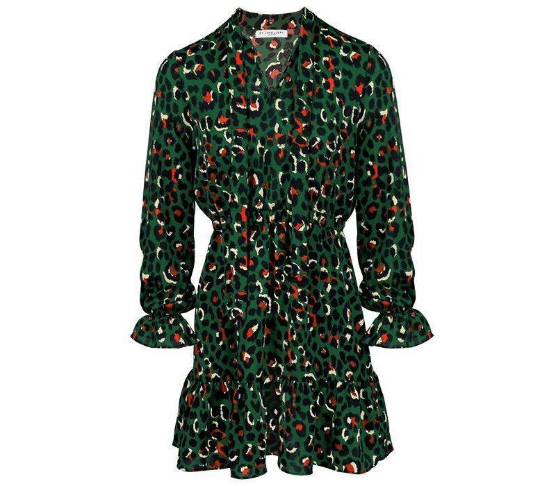 GREEN LEOPARD COLOR DRESS