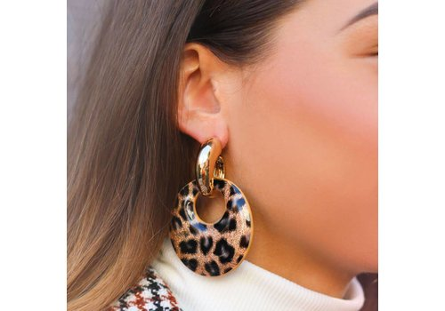 MY JEWELLERY LEOPARD HOOP EARRINGS