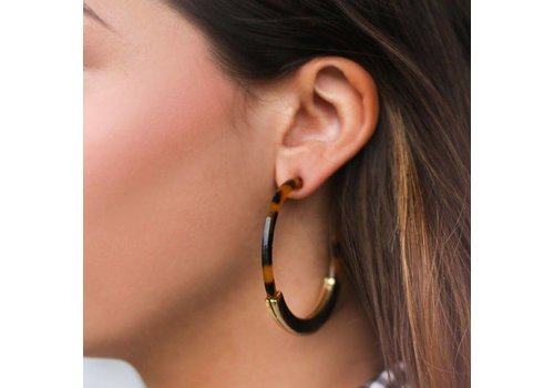MY JEWELLERY EARRINGS HOOPS BROWN