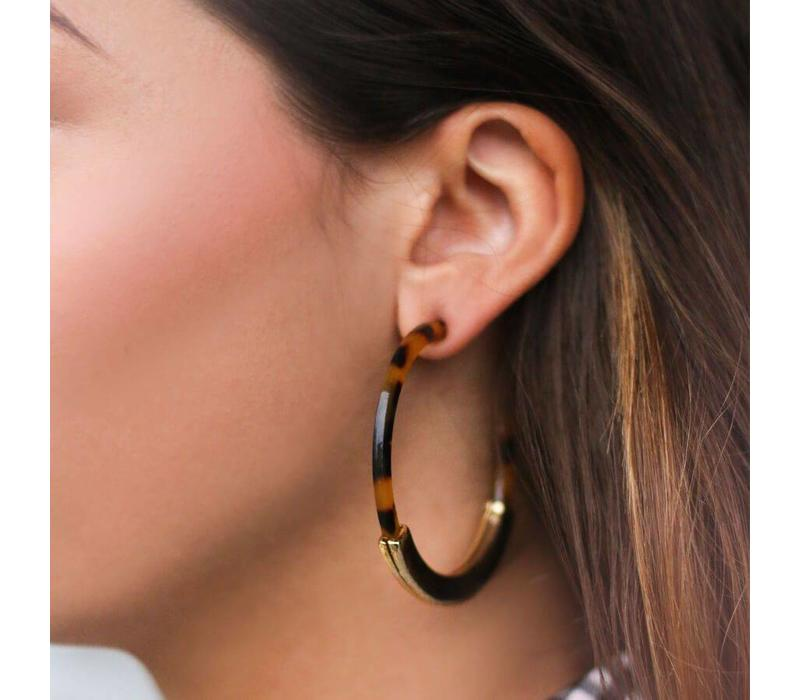 EARRINGS HOOPS BROWN