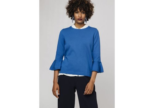COMPANIA FANTASTICA BLUE JUMPER WITH FLARED SLEEVES