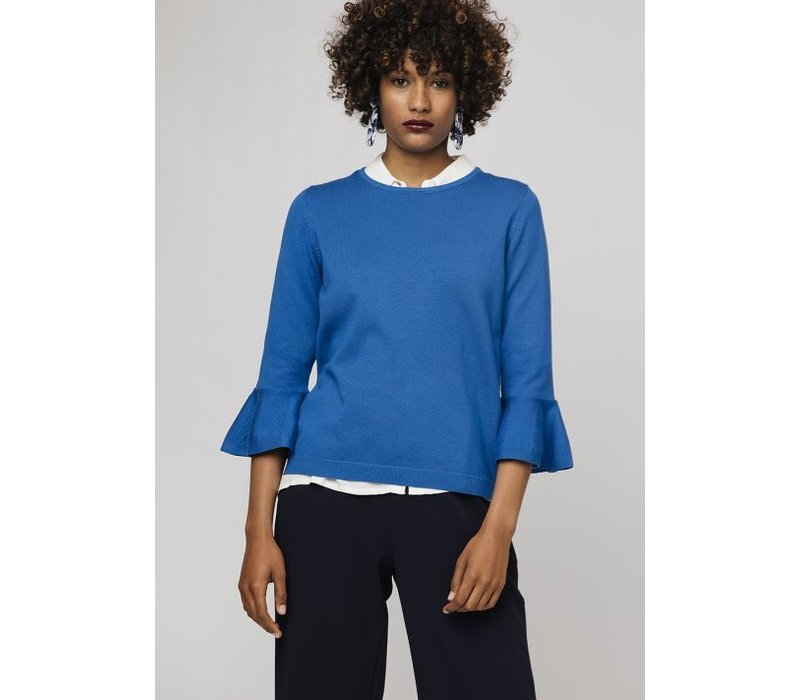 BLUE JUMPER WITH FLARED SLEEVES