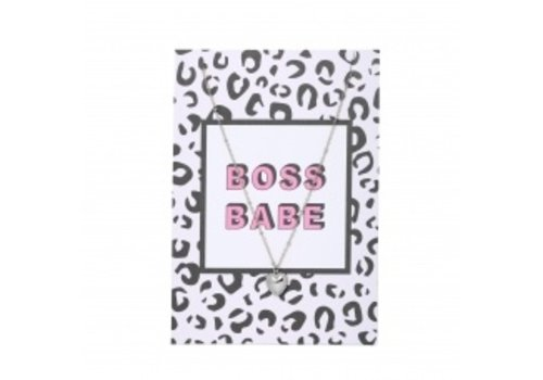 BOSS BABE CARD NECKLACE HEART SILVER