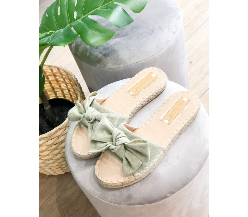 MINT BOW SLIPPERS