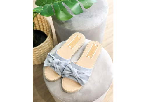 BLUE BOW SLIPPERS
