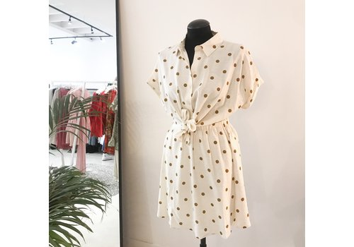 BROWN FRENCH DOTS DRESS