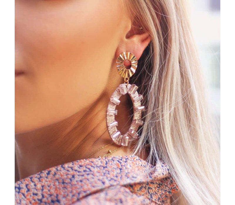 OVAAL EARRINGS PINK