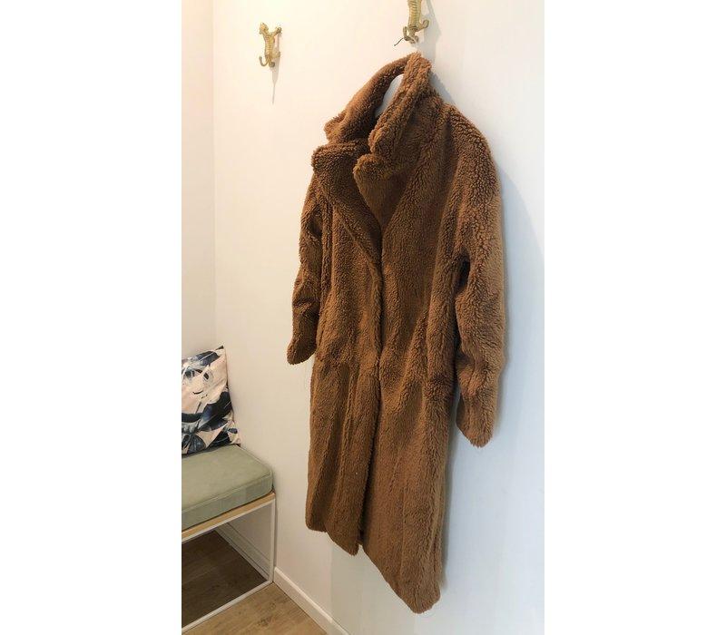 LONG CAMEL TEDDY COAT