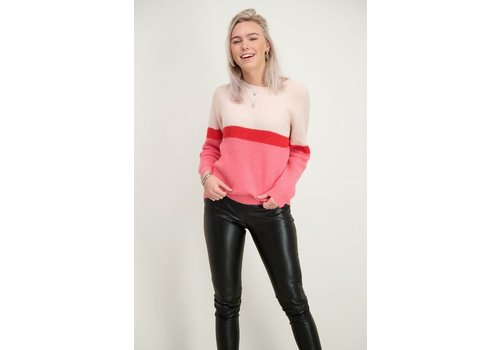 PINK COLORBLOCK KNIT