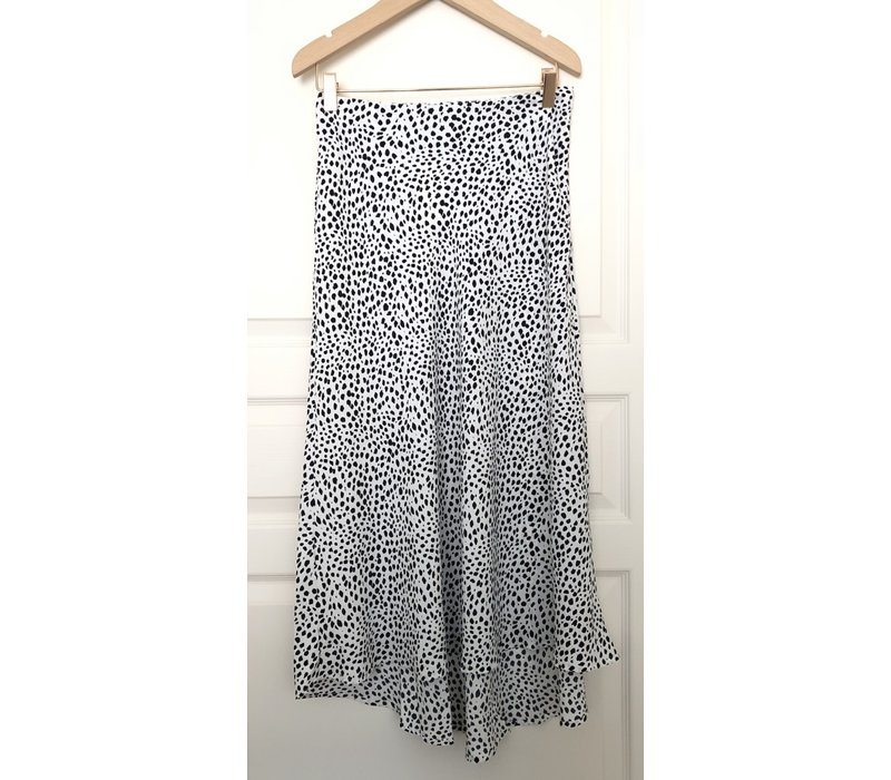 DOTS ON DOTS WHITE WITH BLACK SKIRT