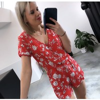 RED FLOWER JUMPSUIT