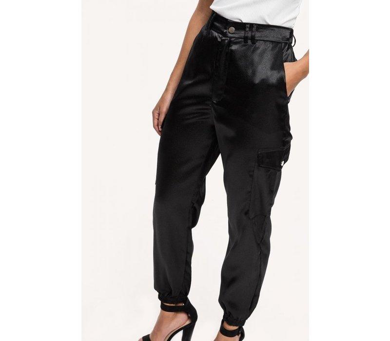 BLACK CARGO SATIN PANTS