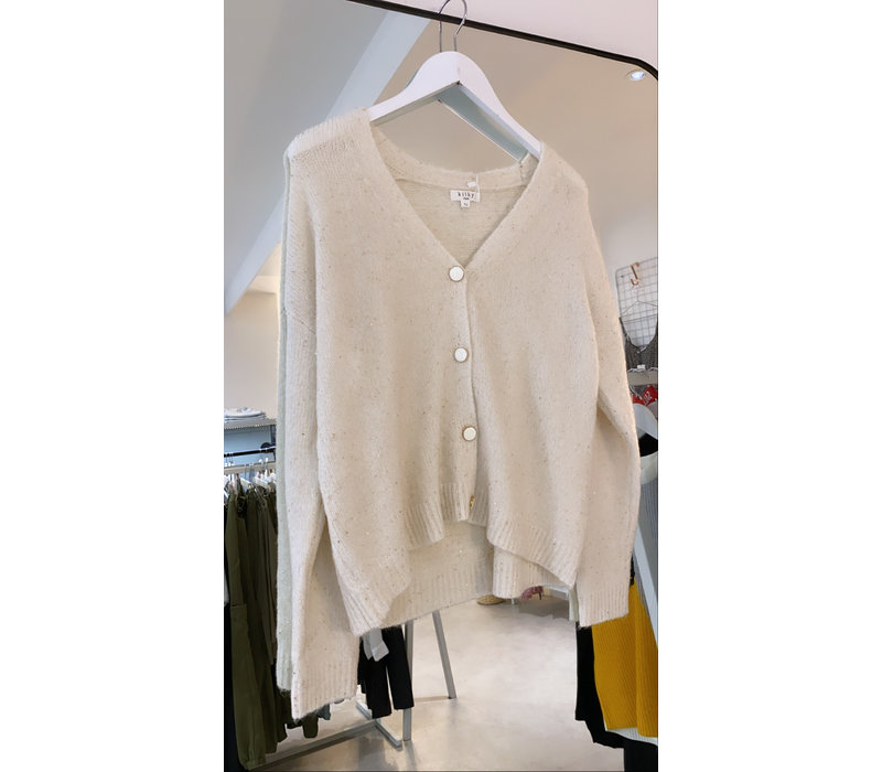 OFFWHITE SPARKLY CARDIGAN