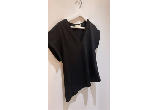 BLACK SIMPLE V NECK