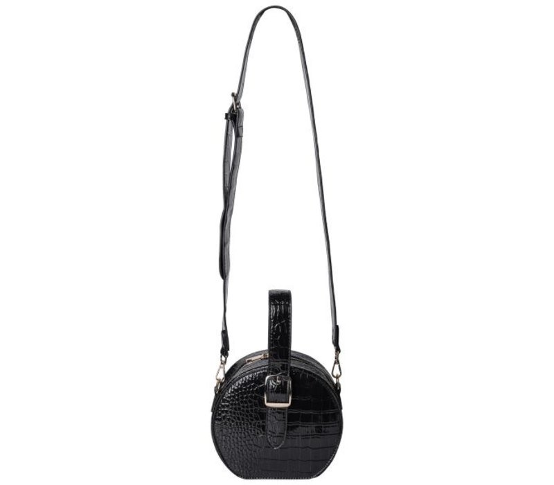 CROCO ROUND BAG BLACK