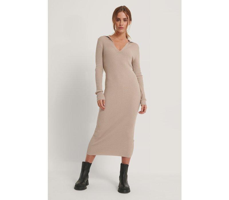 COLLAR KNITTED DRESS