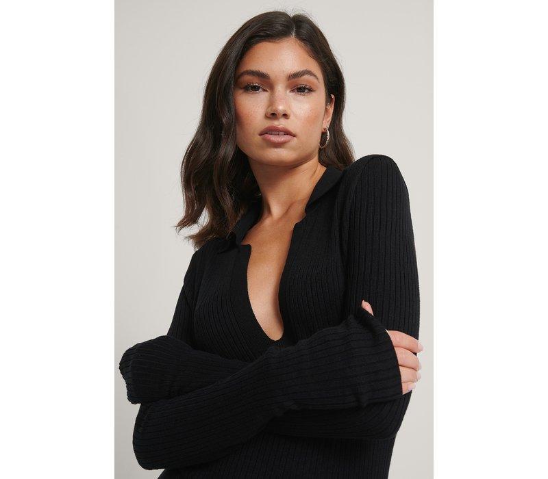 COLLAR KNITTED DRESS BLACK