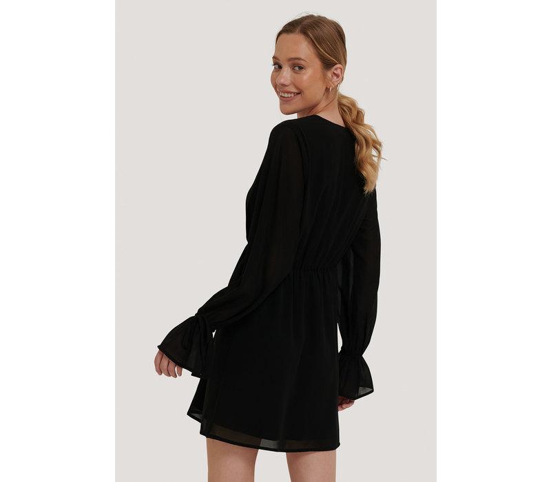 STRAP TIE MINI DRESS BLACK