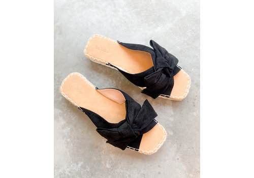 ALISON BOW SLIPPERS BLACK