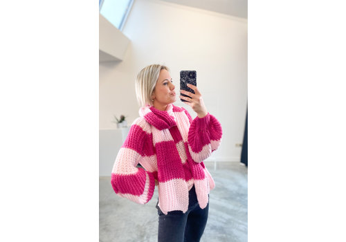 LUKAS VIOLET & PINK KNIT WITH SCARF - TU