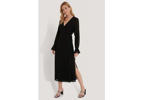 NAKD TIE STRAP OVERLAP DRESS BLACK