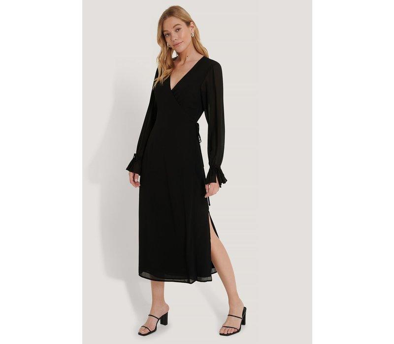 TIE STRAP OVERLAP DRESS BLACK