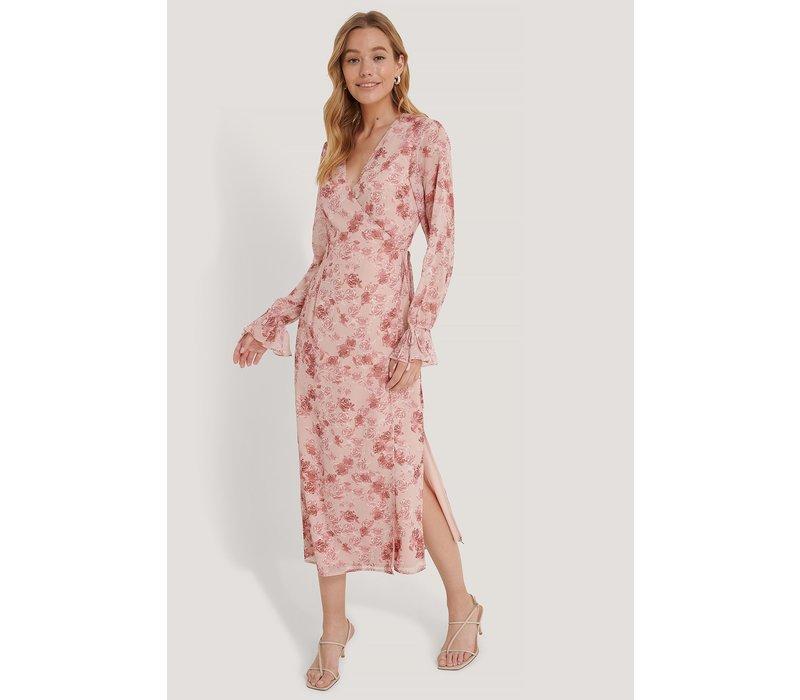 TIE STRAP OVERLAP DRESS ROSE PRINT