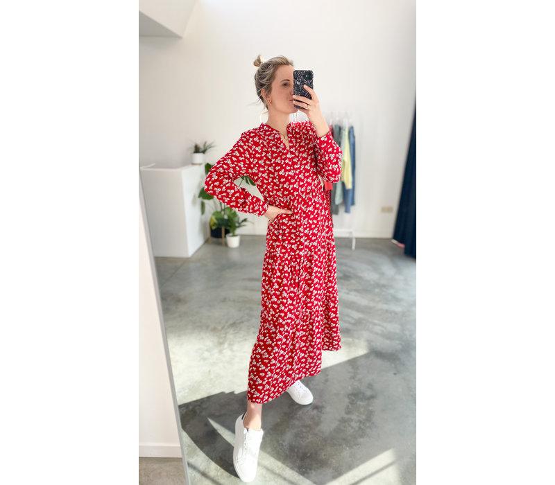 RED FLOWER MAXI DRESS