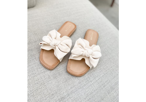 CUTE  BOW SLIPPER - BEIGE