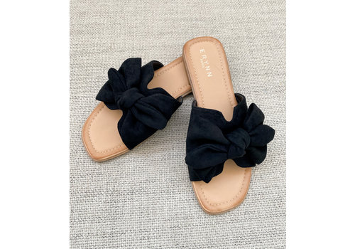 CUTE  BOW SLIPPER - BLACK