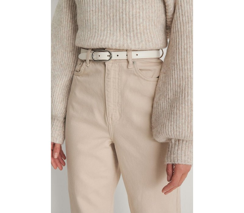 OVAL BUCKLE BELT - OFFWHITE