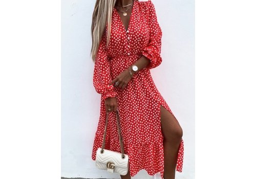 RED DOTS MAXI DRESS