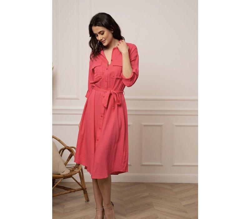 CECILIA FUSHIA SHIRT DRESS