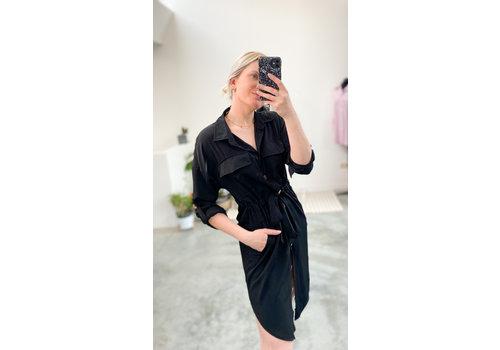 ANGIE BLACK BUTTON DRESS