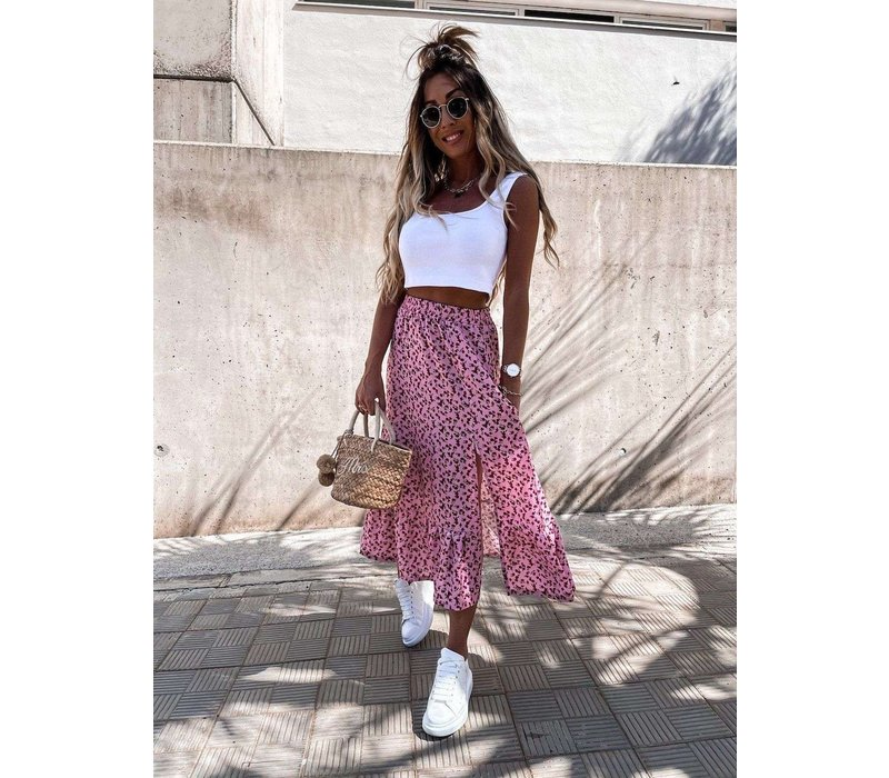PINK  PRINTED SKIRT ONE SIZE