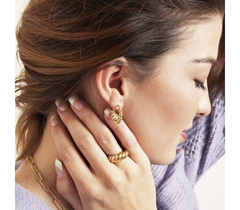 DANGLE TWIST EARRINGS GOLD