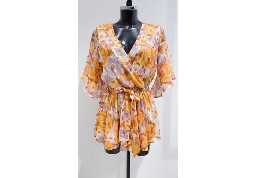 YELLOW PRINTED PLAYSUIT