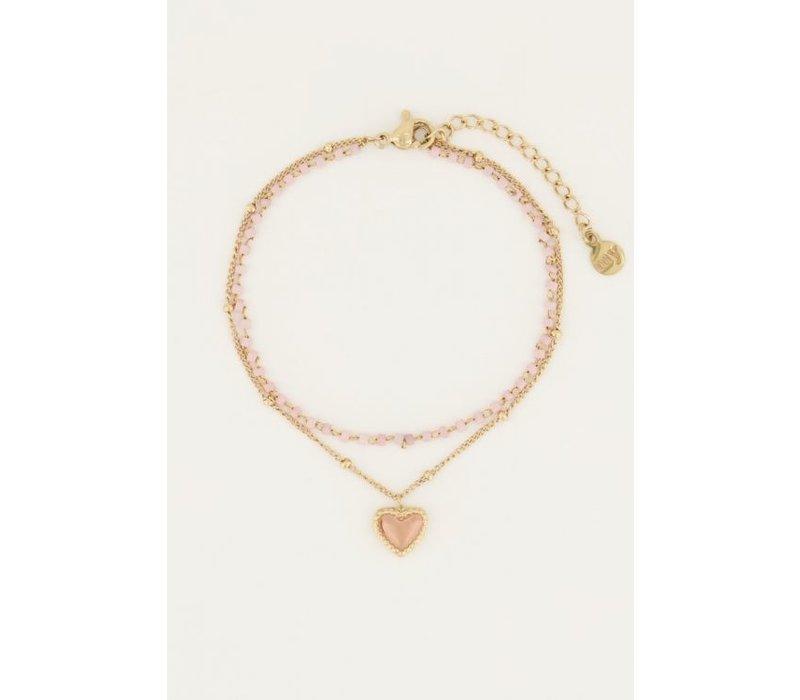 PINK HEART BRACELET GOLD