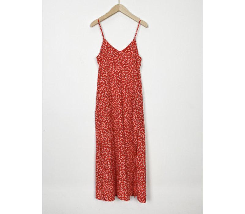 ELISA RED FLOWER DRESS