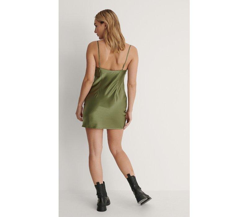 SATIN MINI DRESS - OLIVE GREEN