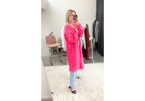 HOT PINK GILET LONG - ONE SIZE
